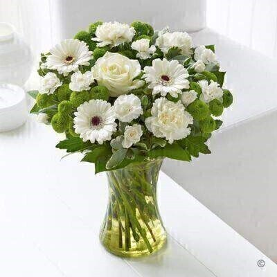White Sympathy Vase: Booker Flowers and Gifts