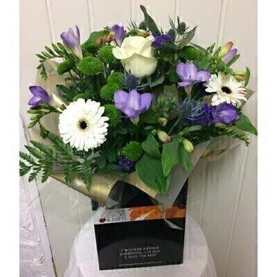 White and Blue Hand Tied Bouquet with Freesia: Booker Flowers and Gifts