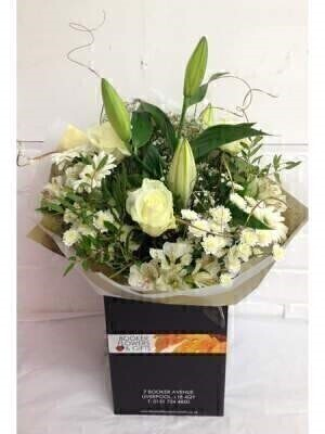 White and Gold Hand Tied Bouquet: Booker Flowers and Gifts