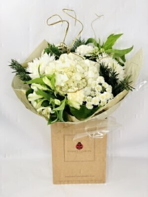 White and Gold Hydrangea Festive Fun Bouquet: Booker Flowers and Gifts