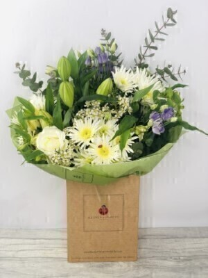 White Roses and Lily Handtied - Flowers in Water