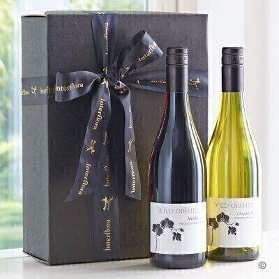 Wine Gift   Red and White in Gift Box: Booker Flowers and Gifts