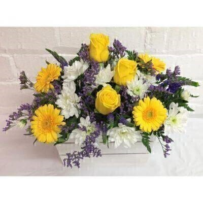 Yellow Purple and White Flower Arrangement: Booker Flowers and Gifts