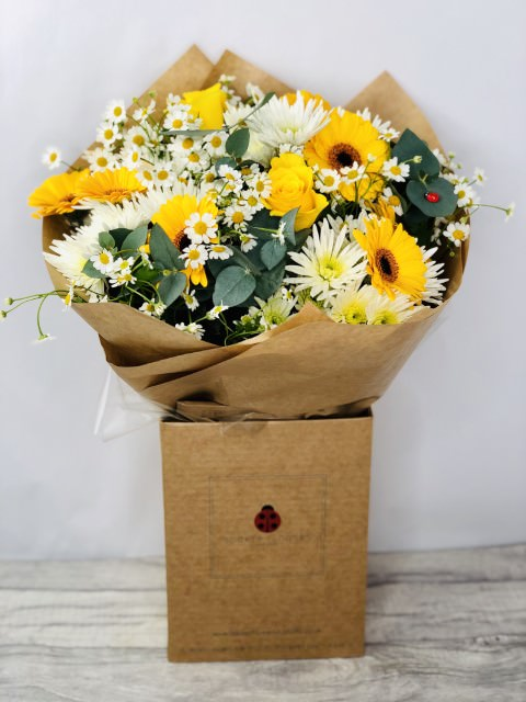 Yellow Rose and Gerbera Summer Bouquet: Booker Flowers and Gifts