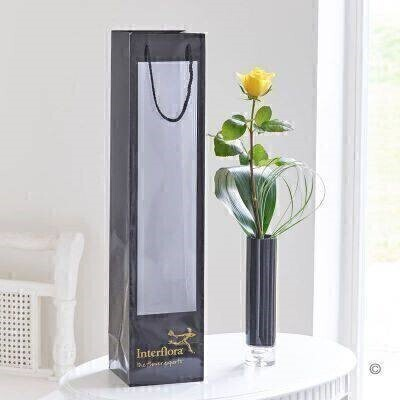 Yellow Rose in Vase and Gift Bag: Booker Flowers and Gifts