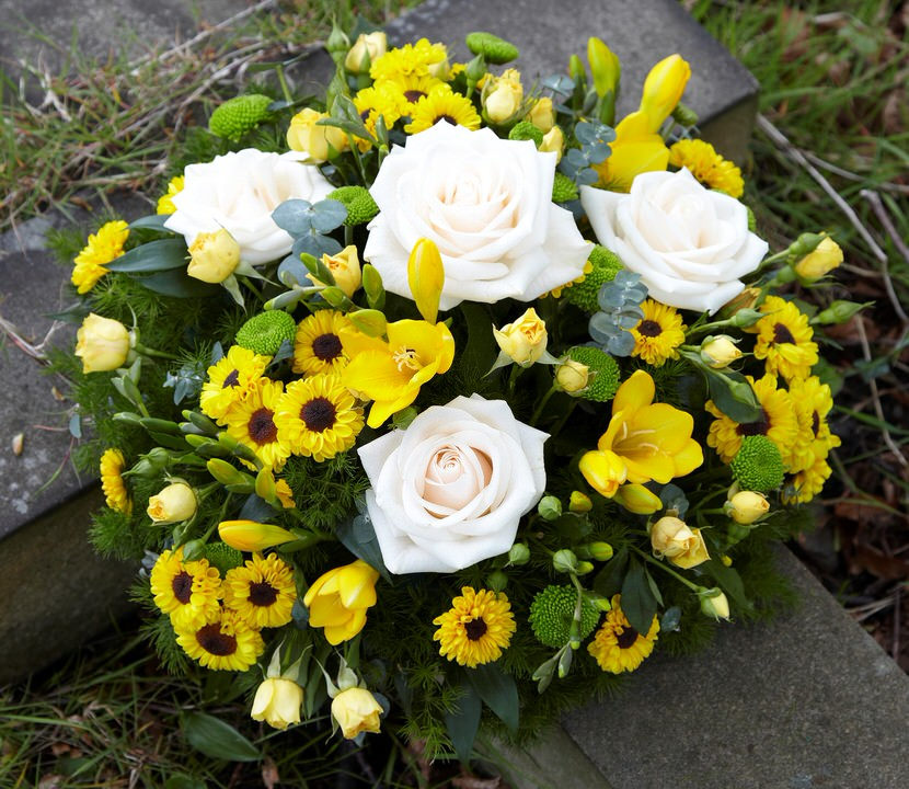 Yellow and White Rose Posy | Funeral Flowers