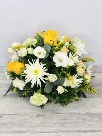 Yellow and White Table Arrangement: Booker Flowers and Gifts