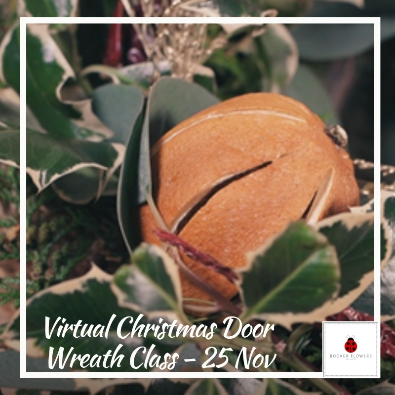 Virtual Christmas Door Wreath Flower School Class with DIY Kit - 25 November