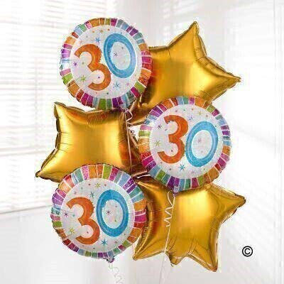 <p>Send your get 30th Birthday wishes with our this fabulous bouquet of balloons. Including three 30th Birthday balloons and three Gold star-shaped balloons, this helium balloon bouquet is sure to brighten their day.</p>