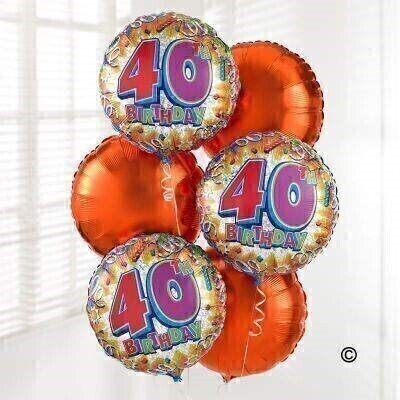 Congratulate someone on this special day with a surprise delivery of six helium-filled balloons. Our 40th Birthday Balloon Bouquet includes three 40th Birthday balloons and three Orange balloons - a gift theyandrsquo;re sure to love!
