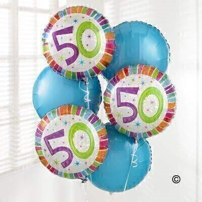 Send your congratulations on this special birthday with this 50th Birthday Balloon Bouquet created with six helium-filled balloons. Including three 50th Birthday balloons and three pastel blue balloons - this is a great gift to celebrate this special occasion.