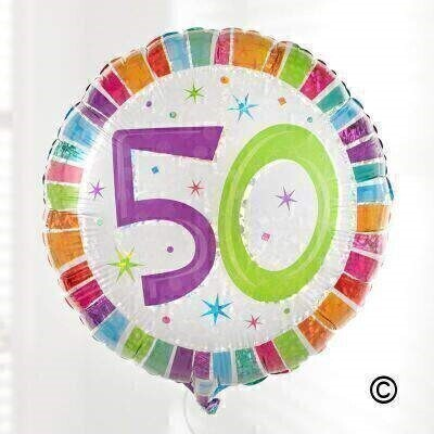Send a helium filled birthday balloon and give their 50th birthday a dash of colourful fun. This eye-catching design features a bright metallic border - silver sparkles and a large andrsquo;50andrsquo; motif.The circular 48cm micro-foil balloon arrives filled with helium and tied to a weight with curling ribbon.