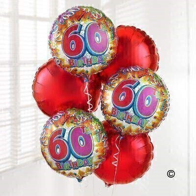 Send your congratulations with this 60th Birthday Balloon Bouquet created with six helium-filled balloons. Including three 60th Birthday balloons and three red balloons - this is a great gift to celebrate this special birthday.