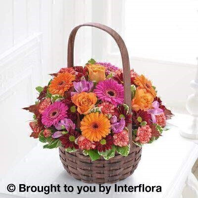 <h2>Autumn Flowers Basket Arrangement</h2>