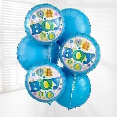 Itandrsquo;s a boy! Send your congratulations with this Baby Boy Balloon Bouquet created with six helium-filled balloons. Including three blue and three ' baby boy' balloons - this is a great gift to celebrate a new arrival and it's perfect for hospital deliveries.