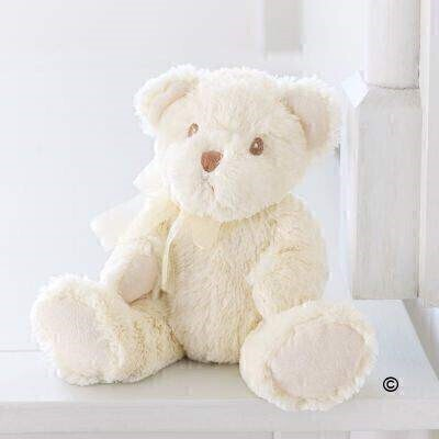 Bailey is a super soft and cuddly 'baby safe' Bear in cream with an organza ribbon bow around his neck.Height sitting: 16cm.