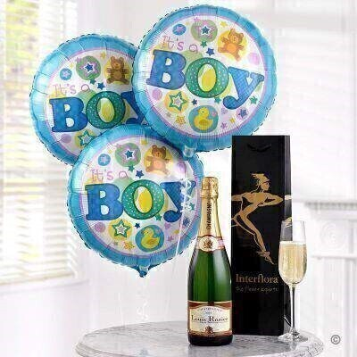 THIS PRODUCT CONTAINS ALCOHOL AND AS SUCH SHOULD ONLY BE BOUGHT FOR SOMEONE OVER THE AGE OF 18 This celebratory gift of champagne and balloons is the perfect way to send your congratulations. We ve chosen a wonderfully fresh and sparkly Louis Rozier Champagne that will fit the occasion and three helium filled baby boy balloons.