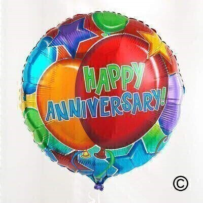 Send your wishes with a surprise delivery of a andlsquo;Happy Anniversaryandrsquo; worded helium-filled balloon. Mark this special day with this brightly coloured balloon tied with ribbon to match delivered with a balloon weight.
