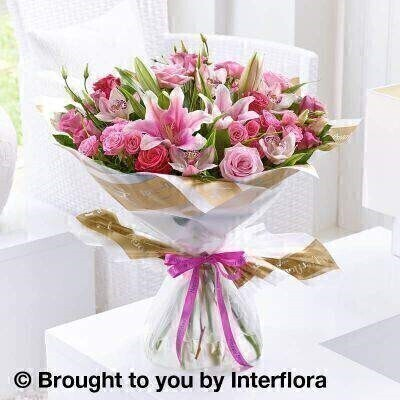 Pink Flowers – Luxury Flowers <br><br> Liverpool Flower Delivery<br><br> We offer advanced booking flower delivery same day flower delivery 3 hour Flower delivery guaranteed AM PM or Evening Flower Delivery and we are now offering Sunday Flower Delivery. .<br><br> <ul><li>Hand arranged by our florists</li><li> To give the best occasionally we may make substitutes</li><li> Our flowers backed by our 7 days freshness guarantee</li><li> Approximate dimensions 50x48cm</li><li> This product is available for delivery throughout the UK</li></ul><br><br>  THIS PRODUCT COMES HAND ARRANANGED AND GIFT WRAPPED IN A WATER BUBBLE PRESENTED IN A BOX The height of luxury  this very special hand-tied bouquet includes an impressive selection of premium flowers. We've used premium roses  delicate mini cymbidium orchids and picture-perfect lilies  all in glorious shades of pink and cerise  to create a truly stunning gift.<br><br>  Featuring 3 pink large headed roses  5 pink mini cymbidium orchid heads  3 pink lisianthus  a pink Oriental lily  3 cerise large headed roses and 3 pink spray roses with salal and dracaena  wrapped and trimmed with a Happy Birthday ribbon.<br><br> The best florist in Liverpool<b><b>Come to Booker Flowers and Gifts Liverpool for your Beautiful Flowers and Plants if you really want to spoil we also have a great range of Wines Champagne Balloons Vases and Chocolates that can be delivered with your flowers. To see the full range see our extras section. You can trust Booker Flowers and Gifts can deliver the very best for you