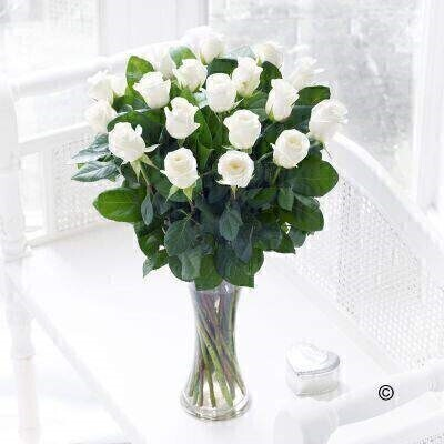 <h1>White Roses - Flower in Vase</h1>
