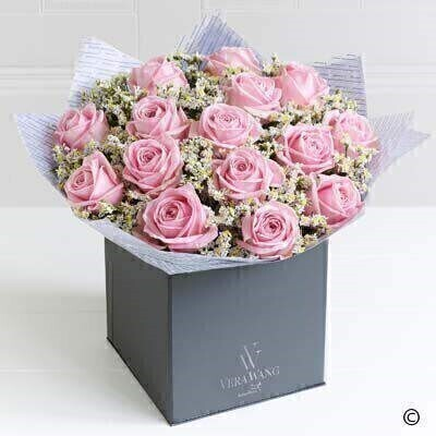 Large version of the Vera Wang Pink Perfection. andnbsp;Showcasing the very best premium roses - richly coloured in a wonderfully feminine - lustrous pink - this Vera Wang bouquet is truly breathtaking; the epitome of elegance. Featuring premium Heidi pink roses - expertly hand-tied with white limonium and salal - and finished with luxurious Vera Wang gift wrapping.