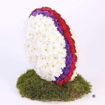 This three dimensional floral tribute is created in the shape of a rugby ball using fresh flowers. White double spray chrysanthemums - red spray carnations and purple statice give the ball shape and colour - and the display is mounted on a moss-covered base