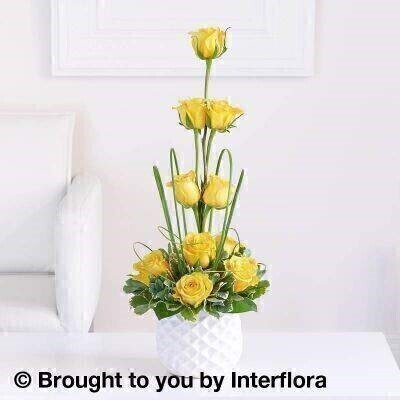 Yellow Flowers – Modern Flowers<br><br> Liverpool Flower Delivery<br><br> We offer advanced booking flower delivery same day flower delivery 3 hour Flower delivery guaranteed AM PM or Evening Flower Delivery and we are now offering Sunday Flower Delivery. .<br><br> <ul><li>Hand arranged by our florists</li><li> To give the best occasionally we may make substitutes</li><li> Our flowers backed by our 7 days freshness guarantee</li><li> Approximate dimensions 60x26cm</li><li> This product is available for delivery throughout the UK</li></ul><br><br>  THIS ARRANGMENT IS IN FLORAL FOAM AND COMES PRE ARRANGED IN CONTAINER This modern arrangement of golden yellow roses is a wonderful focal point for a modern and stylish home.<br><br>  Featuring 10 yellow large headed roses with pittosporum  salal and steel grass  presented in a white dappled ceramic pot.<br><br> The best florist in Liverpool<b><b>Come to Booker Flowers and Gifts Liverpool for your Beautiful Flowers and Plants if you really want to spoil we also have a great range of Wines Champagne Balloons Vases and Chocolates that can be delivered with your flowers. To see the full range see our extras section. You can trust Booker Flowers and Gifts can deliver the very best for you