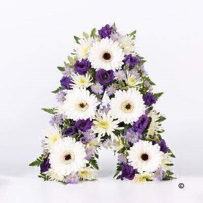 This tribute includes pure white germini partnered with white spray chrysanthemums and contrasting purple lisianthus and lilac September flowers. The letter of your choice is finished with leather leaf and pittosporum.