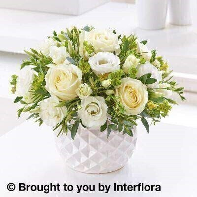 <h1>All White Flowers - Flowers in Ceramic Pot</h1>
