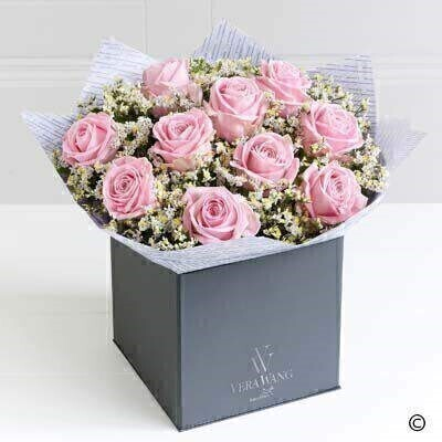 Showcasing the very best premium roses - richly coloured in a wonderfully feminine - lustrous pink - this Vera Wang bouquet is truly breathtaking; the epitome of elegance.  Featuring premium Heidi pink roses - expertly hand-tied with white limonium and salal - and finished with luxurious Vera Wang gift wrapping.