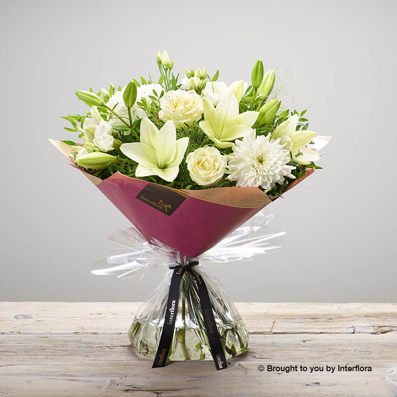 White Valentine's Day Bouquet of Lilies and Roses